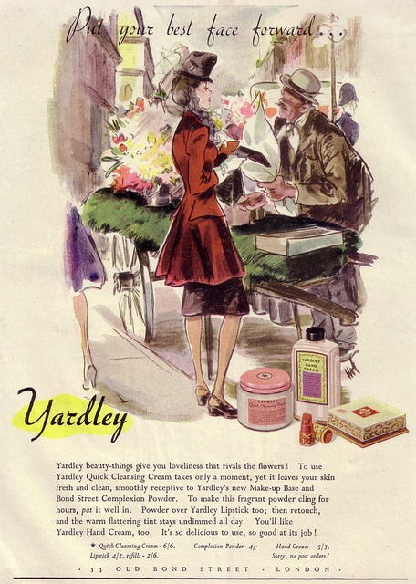 Put your best (vintage) face forward with Yardley's Quick Cleansing Cream. #vintage #1940s #ad #cosmetics #beauty #illustration