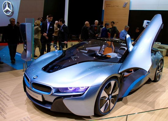 BMW i8 at the 2013 Geneva Auto Salon - BMWs vision of the electric sports car of the very near future.  2013 (January to May) International Worldwide Car Sales