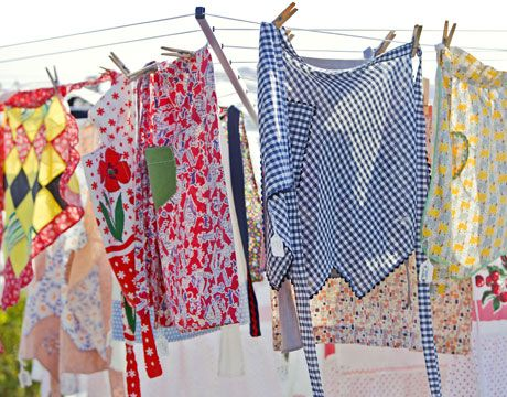 country style aprons on the line