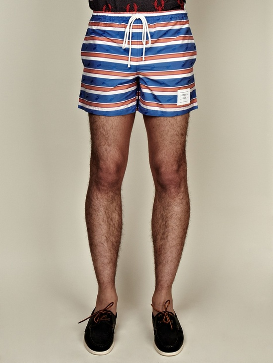 Thom Browne SS13 Men's Striped Whale Swimsuit in blue / red at oki-ni