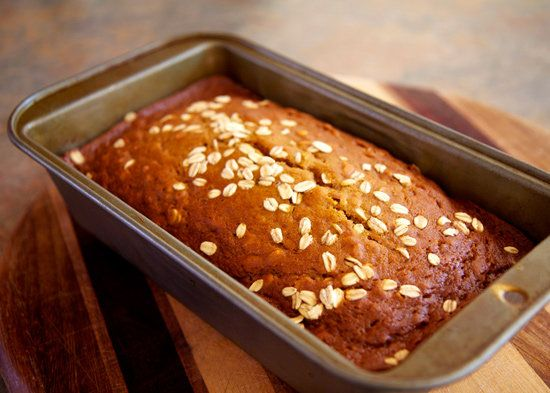Oatmeal Pumpkin Spice Bread Recipe.  Uses applesauce for the oil and has a lot of fiber.  Author suggests toasting a slice and topping with peanut butter.  Yum!