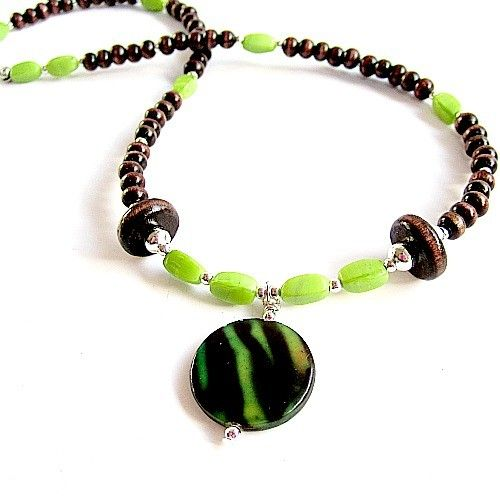 Brown and Lime Green Necklace Silver Jewelry Wood Bead by cdjali, $12.00