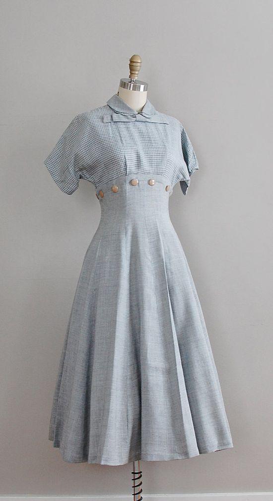 1950s linen dress #daydress #vintage #frock #retro #teadress #romantic #feminine #fashion