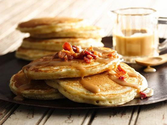 Easy Bacon Pancakes with Maple-Peanut Butter Syrup