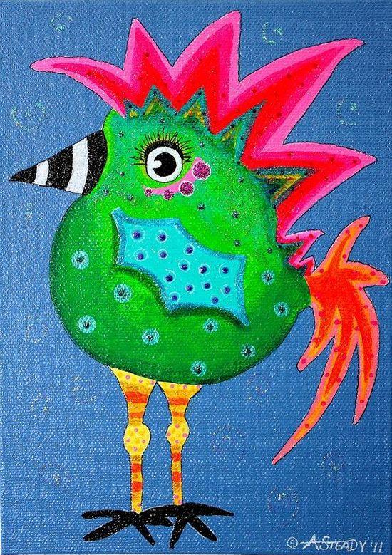 fun bird painting