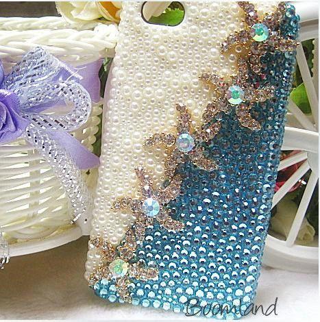 Sea star, iphone 4 case, Starfish iPhone case,  Ocean iPhone 4s case, iPhone 5 case Crystal iPhone 4 case Blue iPhone 5 case iPhone 5 cover