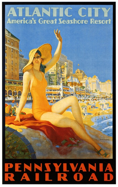 Seaside Reverie.....Atlantic City Travel Poster....Vintage!