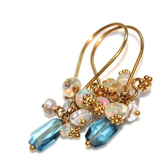 London Blue Topaz Earrings Ethiopian Opal Earrings by FizzCandy #london #topaz #earrings #jewelry #fizzcandy