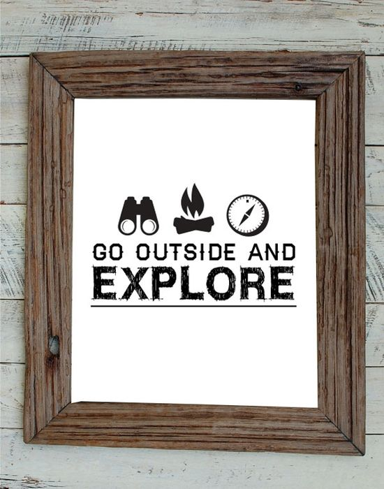 Go Outside and Explore Wall Art by @Jordy Beale #wallart #kids #camp