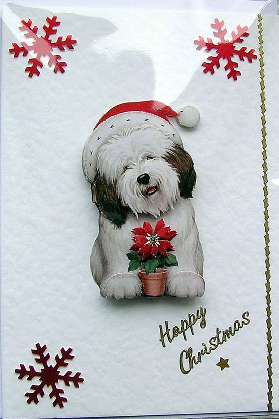 Christmas Card  Happy Christmas HandCrafted 3D by SunnyCrystals, £1.35 #christmas #xmas #decoupage #card #dog #puppy #red #sunnycrystals