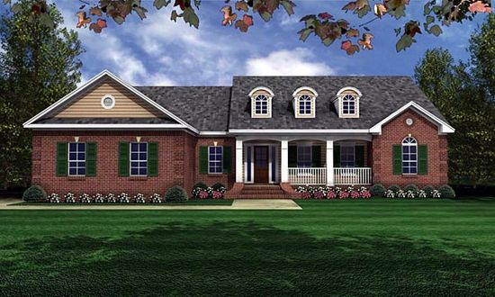European   Ranch   Traditional   House Plan 59011 This house in nice Honey. It has the porch I like and the brick you like.