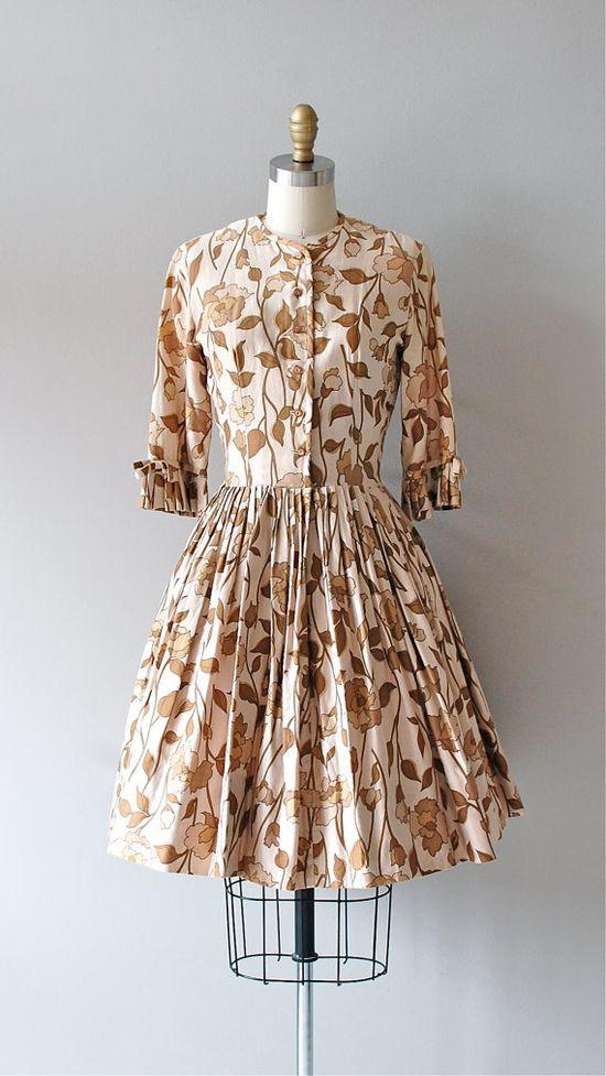 vintage 1950s leaf print dress  #fashion #floral #dress #1950s #partydress #vintage #frock #retro #sundress #floralprint #petticoat #romantic #feminine