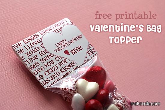 free printable valentine's bag topper.