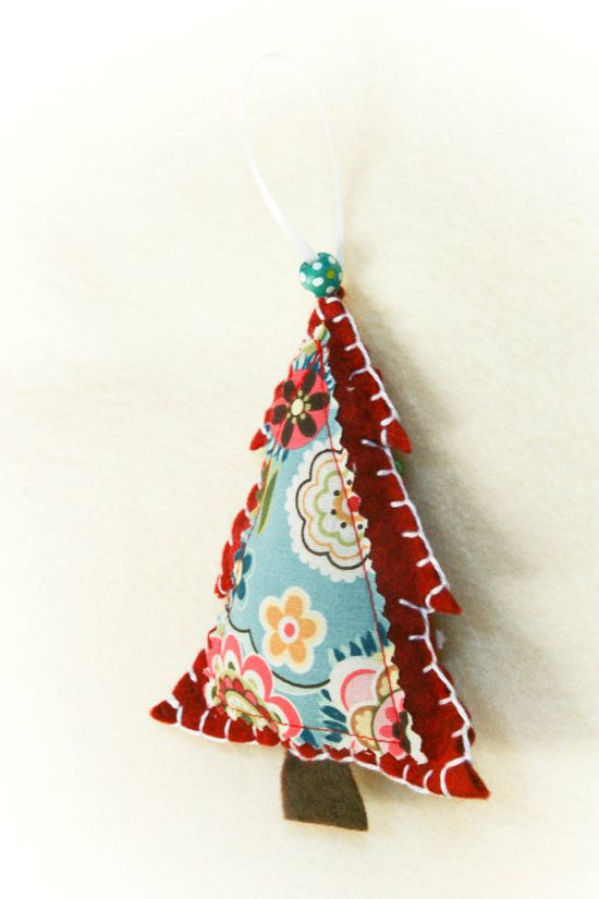 Pretty Handmade Christmas tree fabric