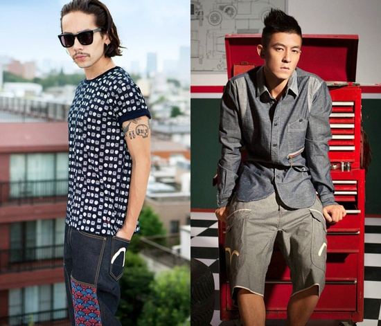 (6a) Mens Takai Reinforced Denim Jeans - (6b) Mens Worker Denim Shirt - Evisu 2013 Spring Summer Mens Lookbook