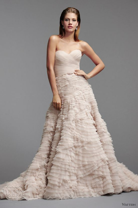 watters brides color wedding dress spring 2014 straples gown