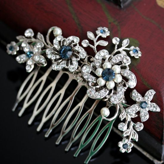 Wedding Hair Comb, Rhinestone flowers and vintage leaves, Montana Blue SABINE