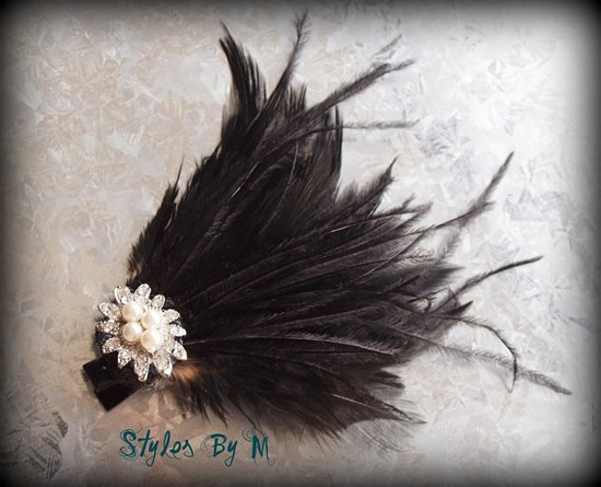 Brown feather and pearl hair accessory
