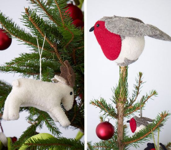 Go non-traditional with your tree topper with a felt bird.