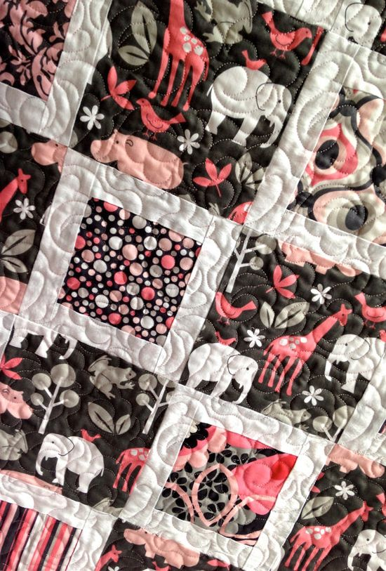 Modern Baby Girl Quilt featuring Michael by KimsQuiltingStudio