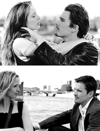Julie Delpy & Ethan Hawke in Before Sunset and Before Sunrise. SO obsessed with the characters in these movies! Cannot wait for the next one!