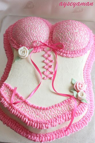 "Bachelorette Party Cake- @Anna Halliwell Boyd Ralph -- Would you rather have this, or ""the other"" cake?"