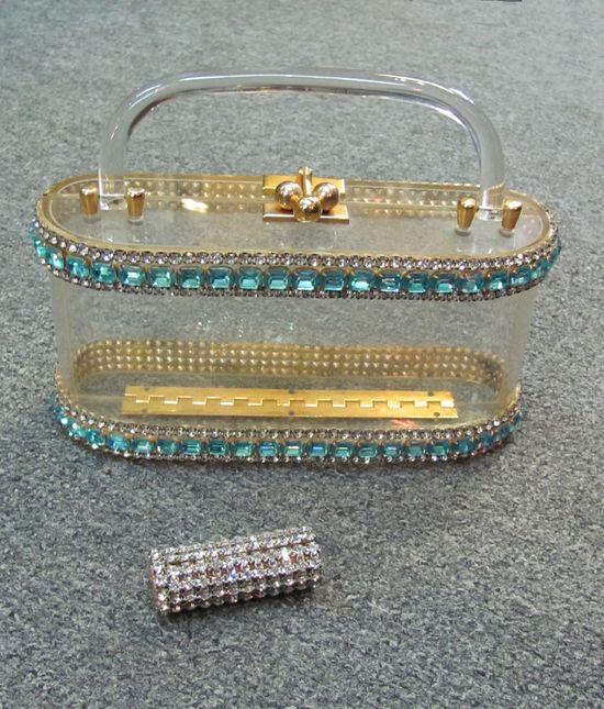 1950s Wiesner CLEAR LUCITE Blue Rhinestones Handbag Purse & Lipstick