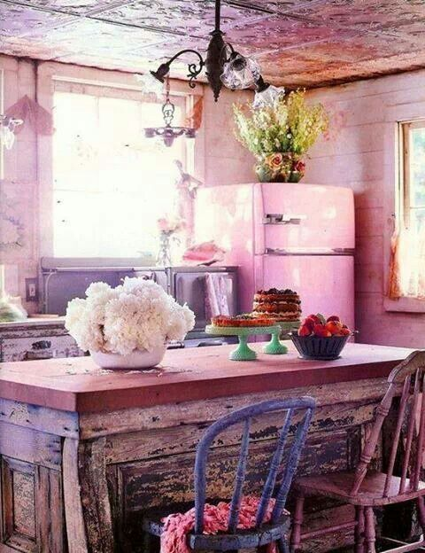 Pink Simplicity!!! Bebe'!!! Pink rustic kitchen decor!!!