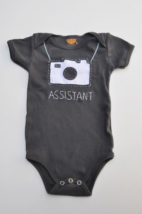 Camera handstitched onesie