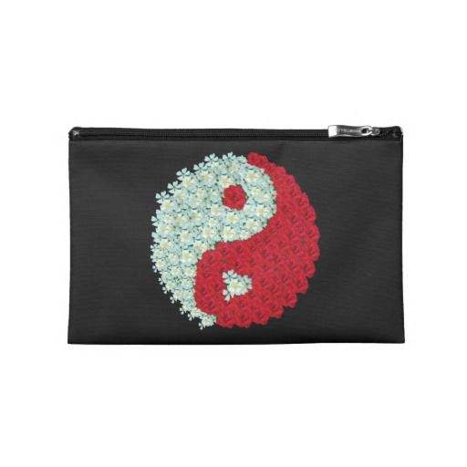 Red and White Roses Yin Yang Symbol Travel Accessories Bag