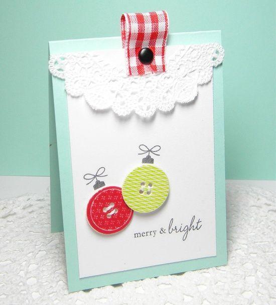 Merry & Bright Handmade Card. I love the folded ribbon with brad #handmade valentine cards #handmade handgun pos #handmade jewelry #handmade silver jewelry #handmade paper making #handmade barbie house #radiohead creep