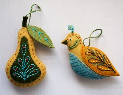 A partridge and a pear - felt ornaments made by Larissa Holland at mmmcrafts