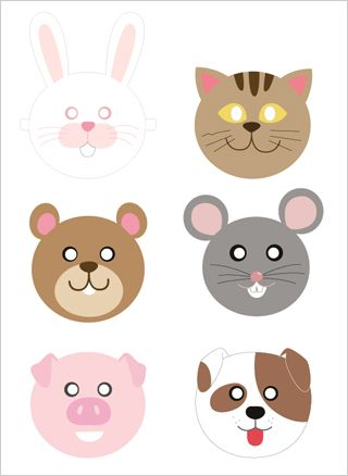 Free printable animal masks (Mr. Printables): Cute paper masks for birthday party favors (or to wear during the party) for a farm / barnyard theme, animal / zoo theme, Noah's Ark theme, pig party, puppy / dog birthday, teddy bear theme, cat / kitty party, mouse party, bunny theme, or even an Easter party / egg hunt
