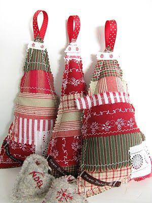 Fabric Christmas trees.