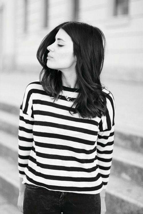 short hair and stripes.