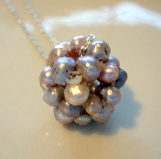 Freshwater Lavender Pearl Cluster Necklace $22.00