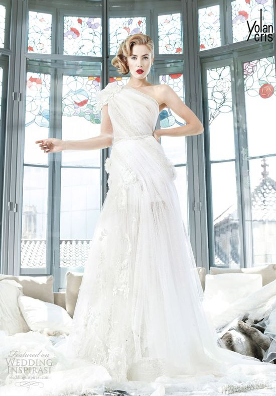 yolancris 2013 couture bridal zimbabwe one shoulder chiffon wedding dress