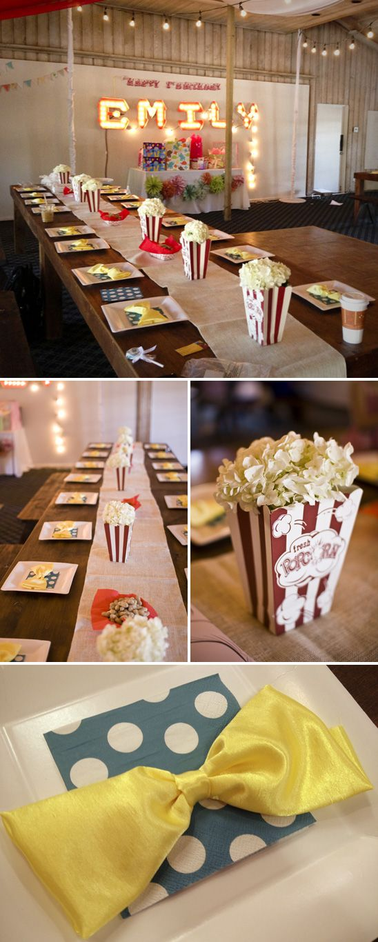 kids circus themed bday party with kissing booth photo prop, popcorn/hydrangea centerpieces and games.. LOVE IT!