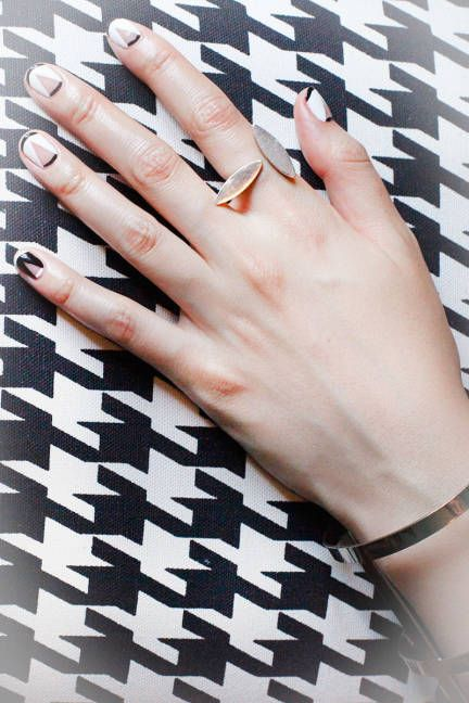 Summer nail art by Miss Pop Nails: Black white & nude graphic geometric nails