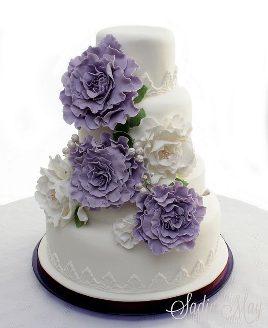 Lilac Romance Wedding Cake, via Flickr.