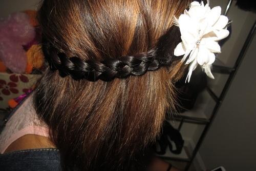 brown hair with flower headband