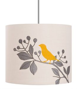 House Sparrow White with Charcoal and Sunflower Yellow Lampshade