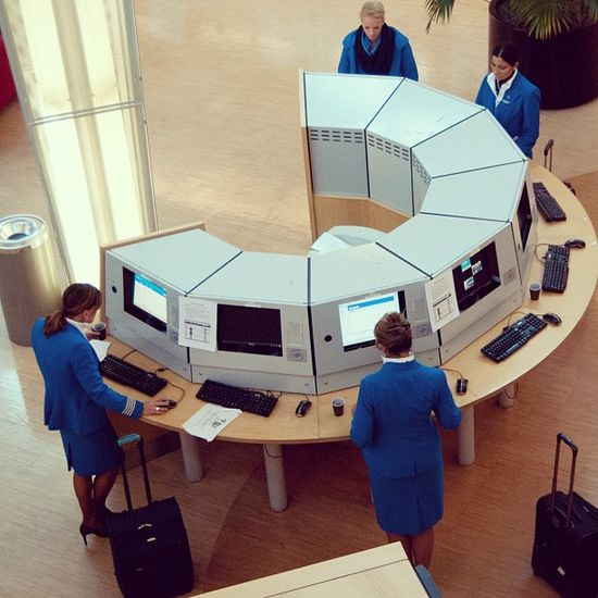Logging in before the flight at the KLM Crew Center
