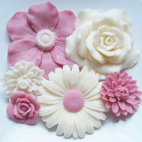 Pink and White Flower Soap