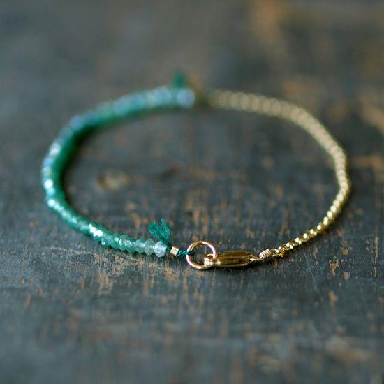 Green Onyx Ombre Bracelet Gemstone Spectrum Gold Chain Delicate Handmade Jewelry