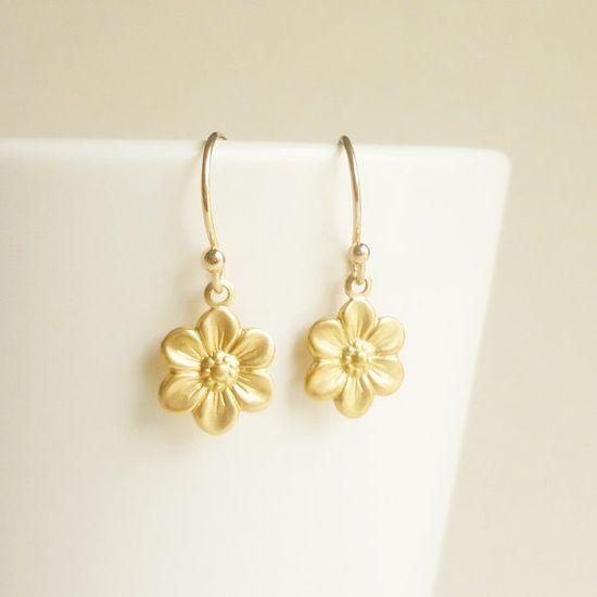 #Gold #Flower #Earrings #Brass Gold #Daisy #Flower by allcraftsharing, $12.99 #handmade #dangle #bridesmaid #gift #craft