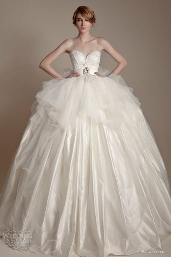 ersa atelier wedding dresses 2013 strapless sweetheart tulle lace ball gown