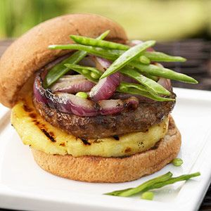 Hoisin sauce, Chinese five-spice powder, and crushed red pepper add tantalizing Asian notes to these tasty beef-and-pork burgers. Make them for a quick weeknight dinner.