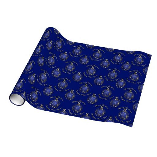 gold bauble - blue gift wrap