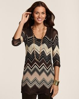 Chico's Travelers Collection Chevron Sweater